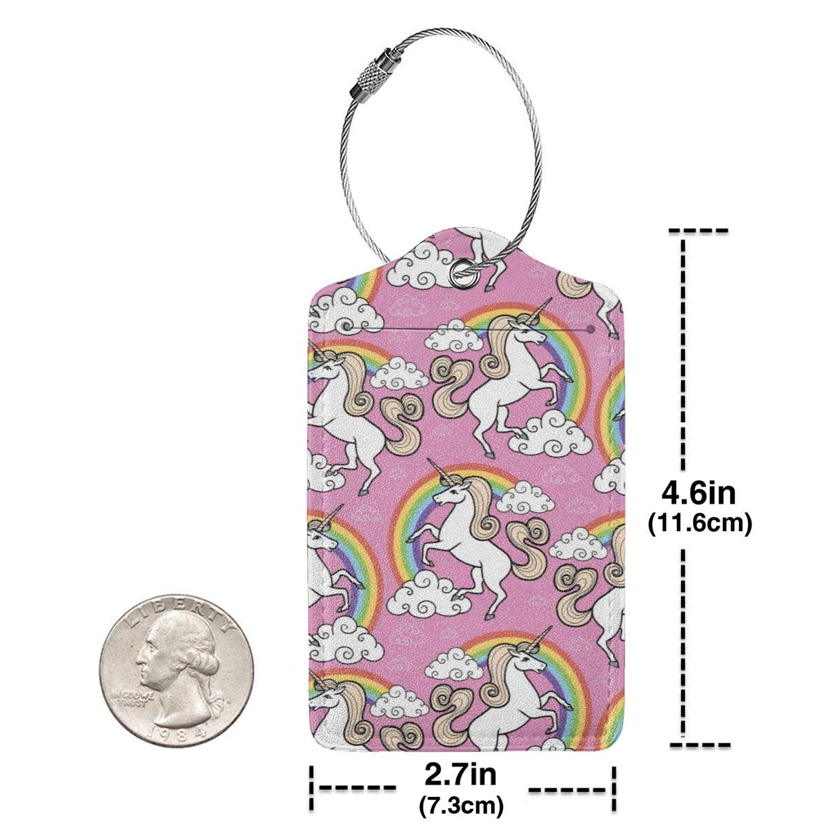 Leather Luggage Tags Full Privacy Cover and Stainless Steel Loop 1 2 4 Pcs Set Key Tags for Christmas Birthday Couples Gift Magic Unicorn Rainbow 2.7 x 4.6 Blank Tag