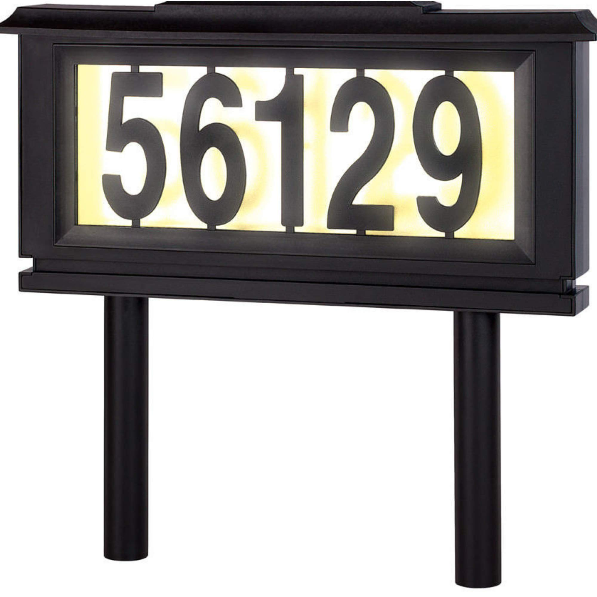 Home Ideas Solar Street Address Plaque Outdoor Led Light Signs, House Mailbox Numbers Reflective Sign for Home or Yard - Auto ON at Night – Off at Daylight Black