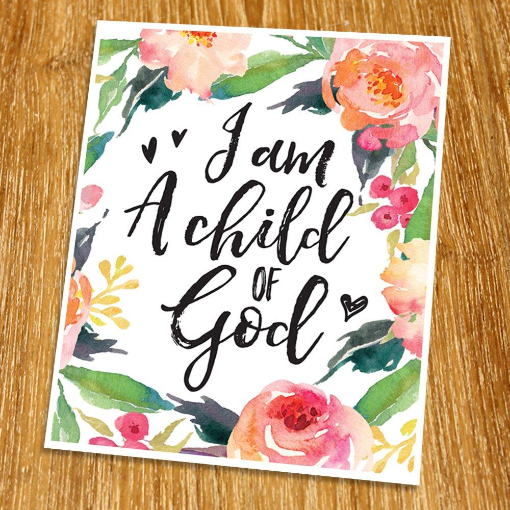 I am a child of God Print (Unframed), Motivational Print, Nursery Wall Art, New Born Gift, Entrance Decor, Baby Gift, Watercolor Flower, 8x10'', TB-055