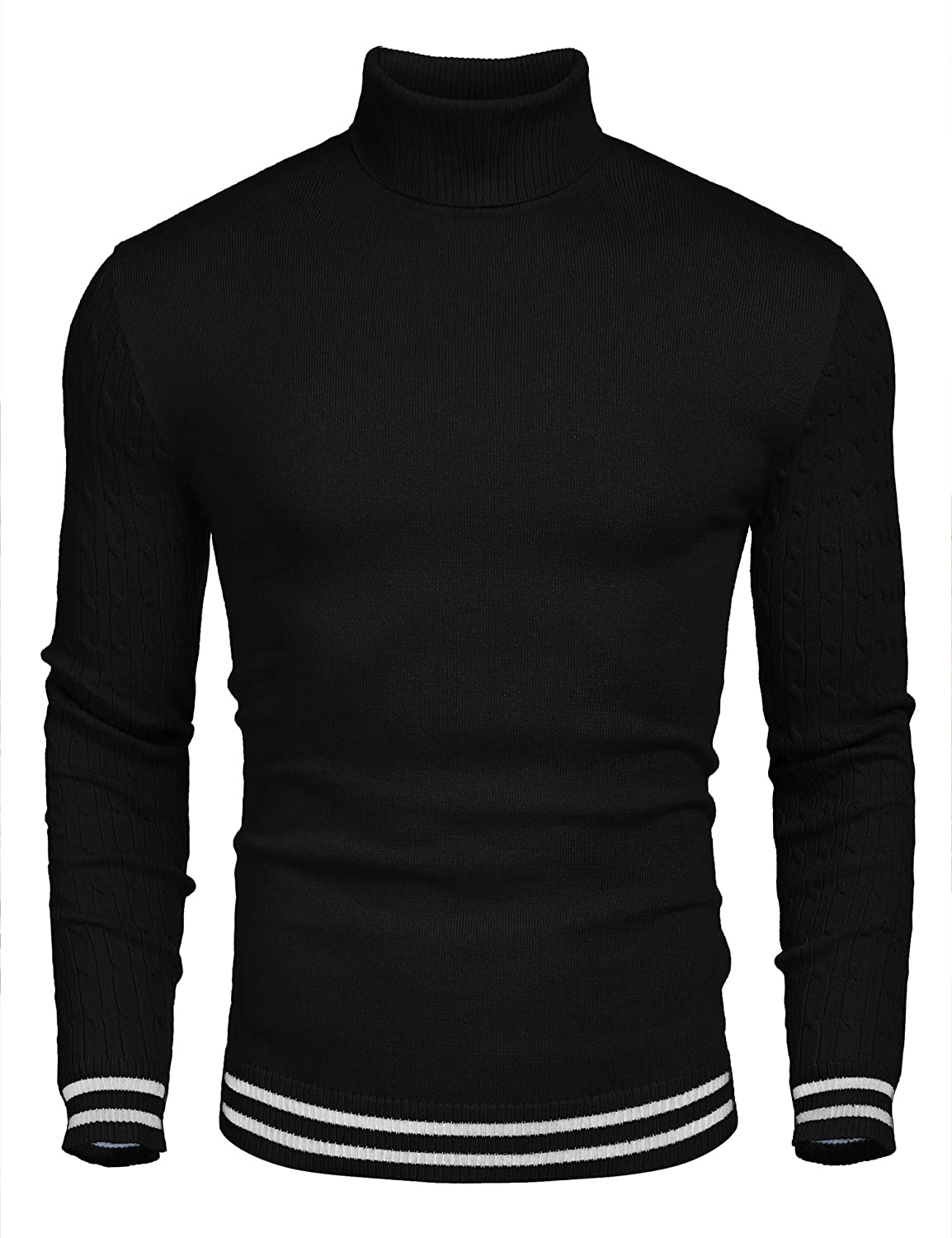 COOFANDY Men's Basic Ribbed Thermal Knitted Pullover Slim Fit Turtleneck Sweater THS00001