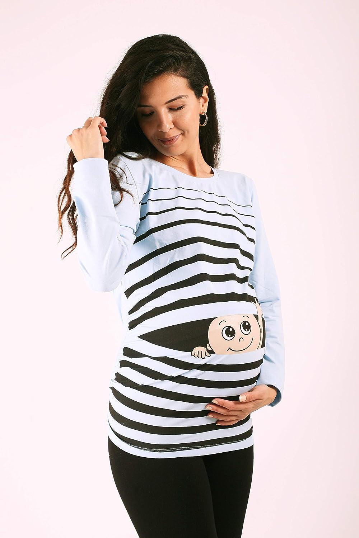 M.M.C Ciao Ciao Premaman Abbigliamento Donna Magliette Premaman T-Shirt Divertente Gravidanza Maniche Lunghe maternit/à