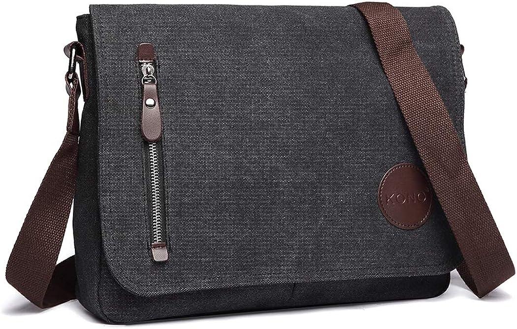 Kono Canvas Laptop Messenger Bags Mens Crossbody Bags for Women 13.5'' Canvas Satchel Messenger Shoulder Bag Satchel Bags
