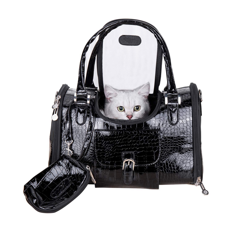 Dog Carrier PU Leather Dog Handbag Dog Purse Cat Tote Bag Pet Cat Dog Hiking Bag Travel Bag (M, Black) by Hillwest