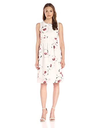 Ivanka Trump Women's Printed Organza Dress, Coral/Ivory, ...
