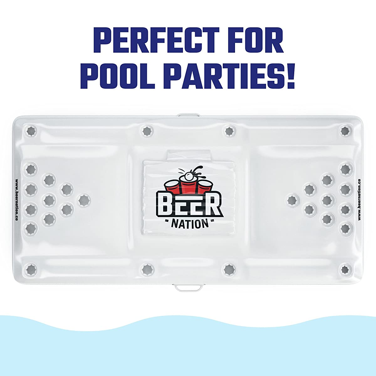 Beer Nation Inflatable Beer Pong Table with Cooler - Pool Beer Pong Pool Party Game - Floating Pong Table