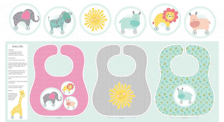 Amazon.com: BABY BIBS Fabric PANEL - Green/Pink/Grey - CON07 - by ...