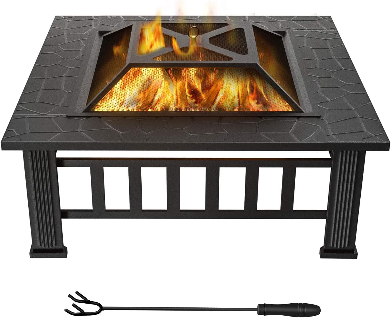 WINWEND Fire Pit Outdoor Wood Burning, 32in Firepit with Spark Screen, Waterproof Cover, Poker, Square Firepit for Patio Backyard Garden