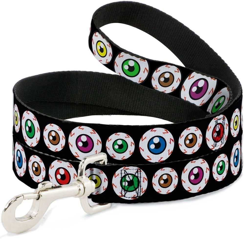 Buckle-Down DL-W30527 Dog Leash 4 Eyeballs Black//Multi Color