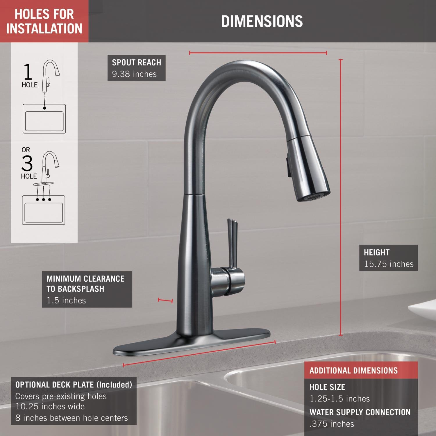Delta Faucet Essa Single-Handle Kitchen Sink Faucet with Pull Down Sprayer and Magnetic Docking Spray Head, Arctic Stainless 9113-AR-DST by DELTA FAUCET (Image #3)