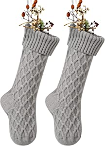 Free Yoka Cable Knit Christmas Stockings Kits Solid Color Gray Classic Decorations 18 Inches Set of 2