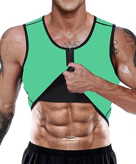 Ducomi Camiseta Reductora Adelgazante Hombre Neopreno Faja Compresion de Sauna Chaleco Modelador para Sudoración Musculación con Cremallera Perder Peso Camisa Adelgazar Entrenamiento (EU XL, Verde): Amazon.es: Deportes y aire libre