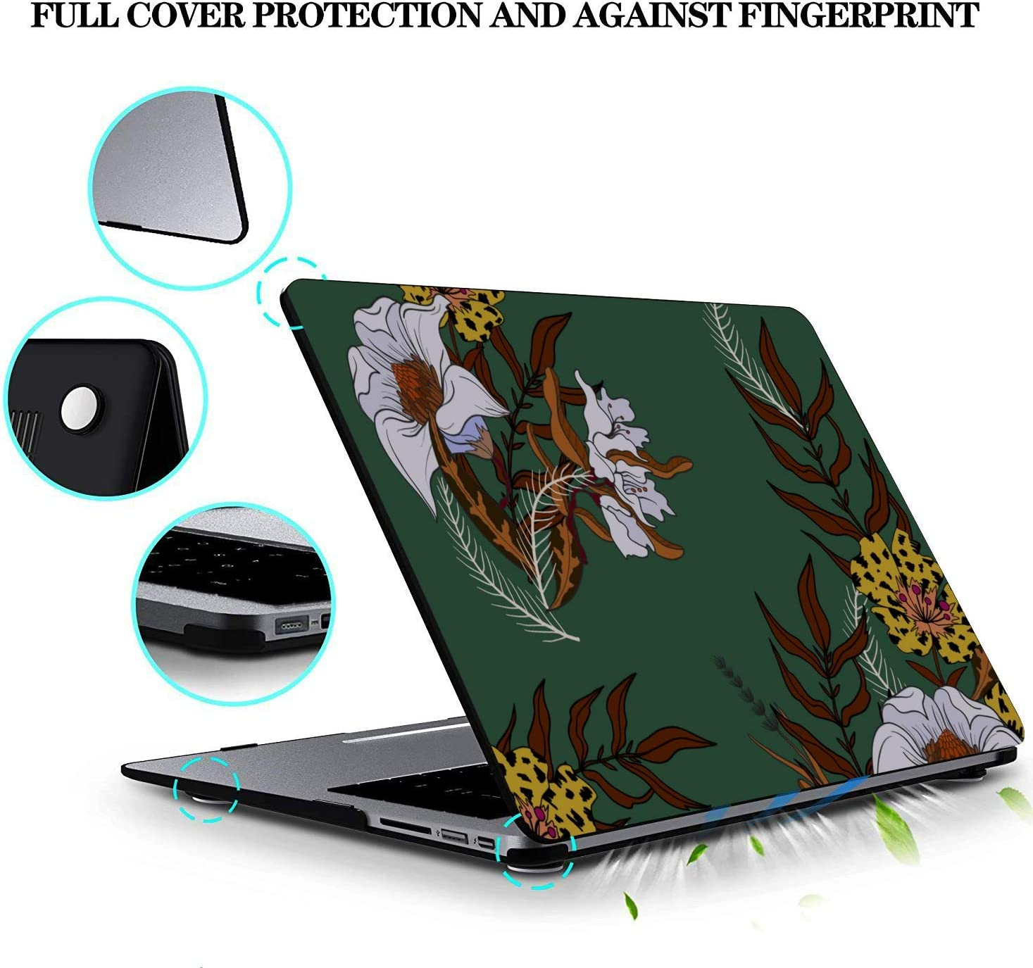 MacBook Pro Protector White Spring Beautiful Noble Peony Plastic Hard Shell Compatible Mac Air 11 Pro 13 15 MacBook Pro Cases Protection for MacBook 2016-2019 Version