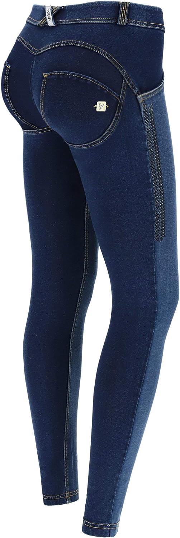 Freddy WR® de Talle bajo de Denim con Strass - Jeans Scuro-Costuras Amarillo - Medium