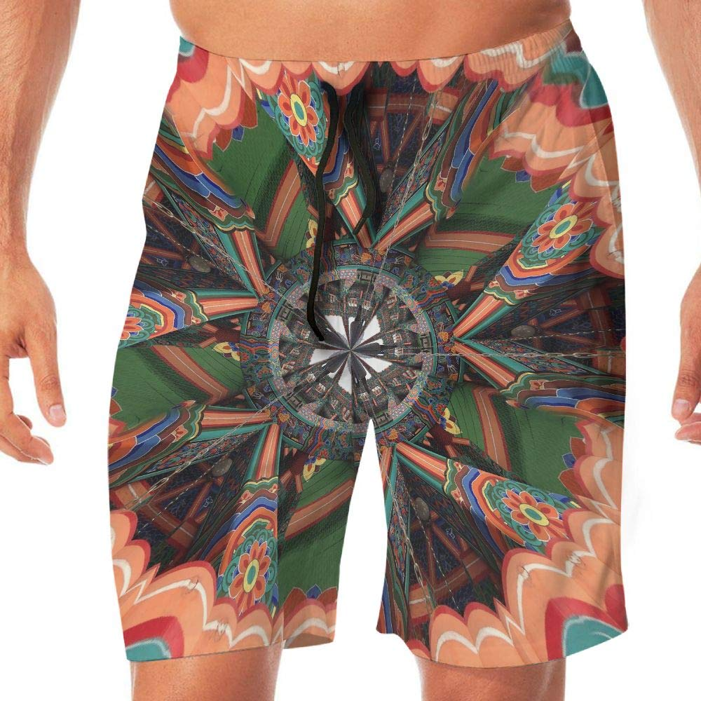 Quick Dry Men's Beach Shorts Psychedelic Kaleidoscope Surfing Trunks Surf Board Pants Pockets