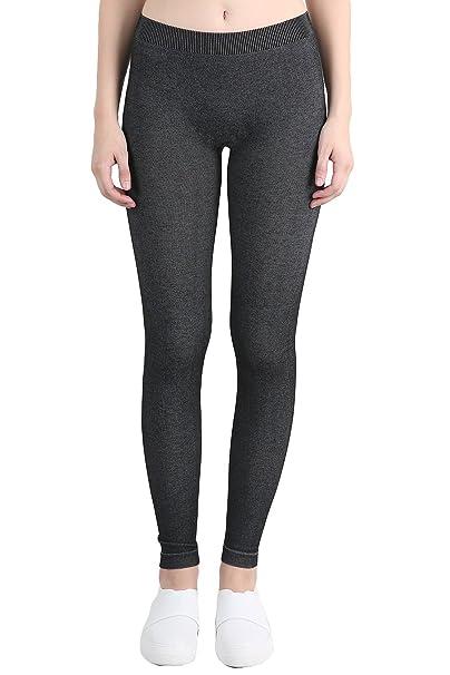 c7752c1e65eee6 Nikibiki Womens Seamless Melange Leggings One Size Black at Amazon Women's  Clothing store: