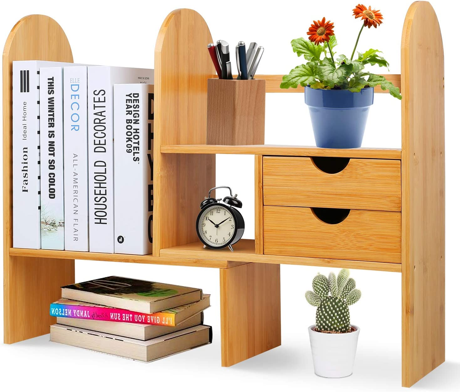 Desktop Bookshelf with 2 Drawers, Adjustable Wood Desk Storage Organizer Display Shelf Rack for Office Supplies, Kitchen,Bathroom, Makeup