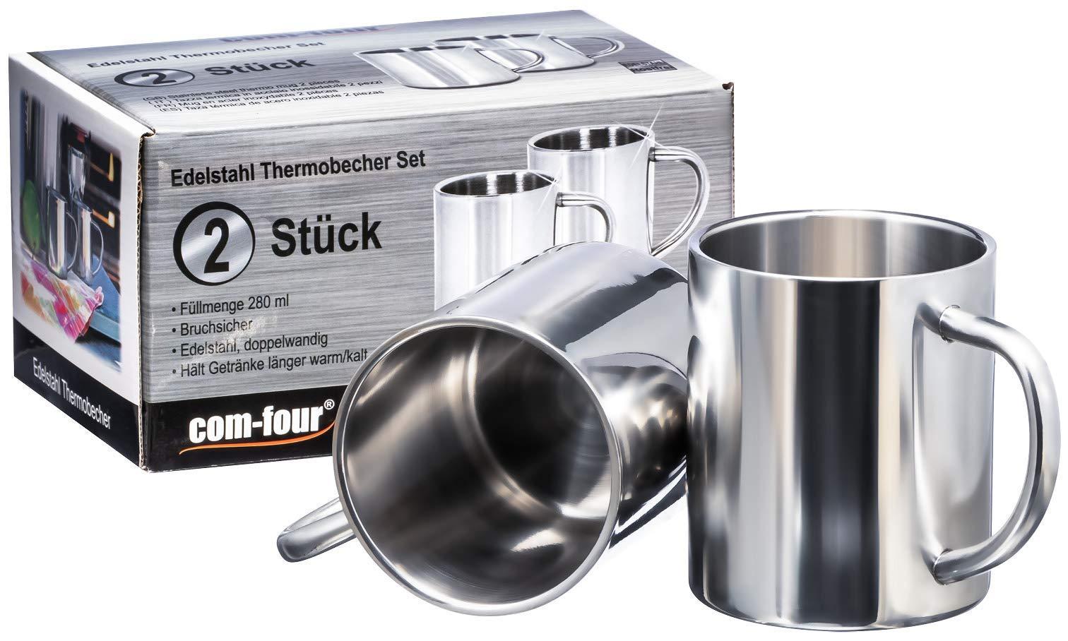 4 x Gl/äser mit Henkel Vintage HOT Farbe Kaffee Material Metall Kaffeepaddose 2er Set