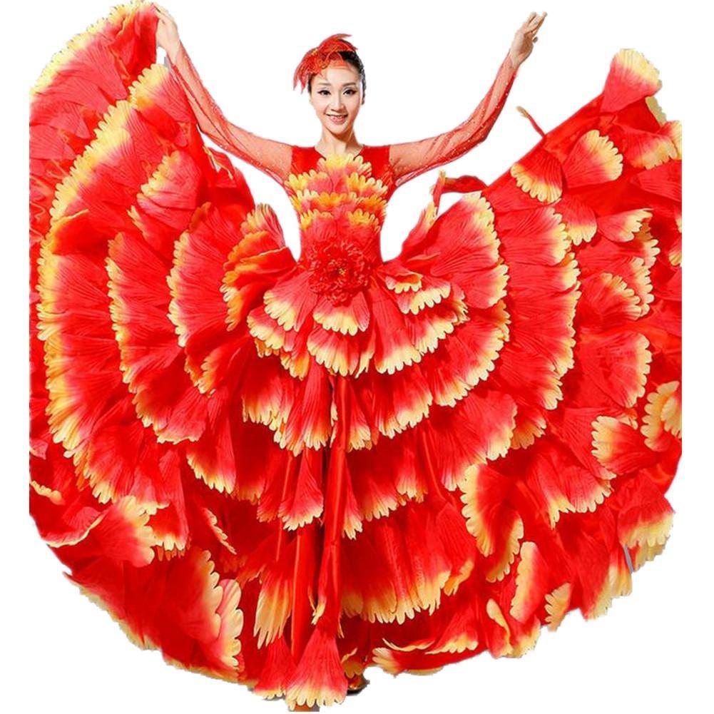 rouge jupe 720 XL Wgwioo femmes FlaHommesco Robe 180 360 540 720 Devert Fleurs Doubles Manches Pétales Jupe Ouverture Grand Costume Moderne Chorale Costumes