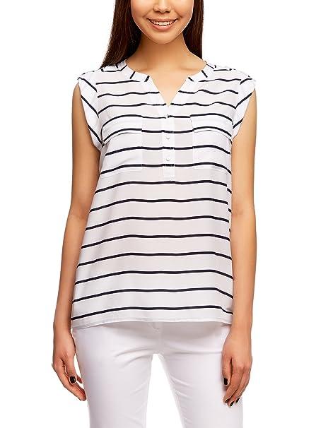oodji Collection Mujer Blusa Estampada de Viscosa con Dos Bolsillos, Blanco, ES 36 /