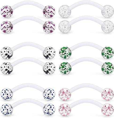 14g Barbell Acrylic 5mm Bubble Balls Tongue Nipple U Choose 4 Colors Set//Single