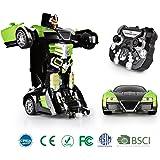 SainSmart Jr. Transformation Car Toy Bugatti Car Robot for Kids, RC Car One Button Transforms into Robot, Remote Control Transforming Robot (Green)