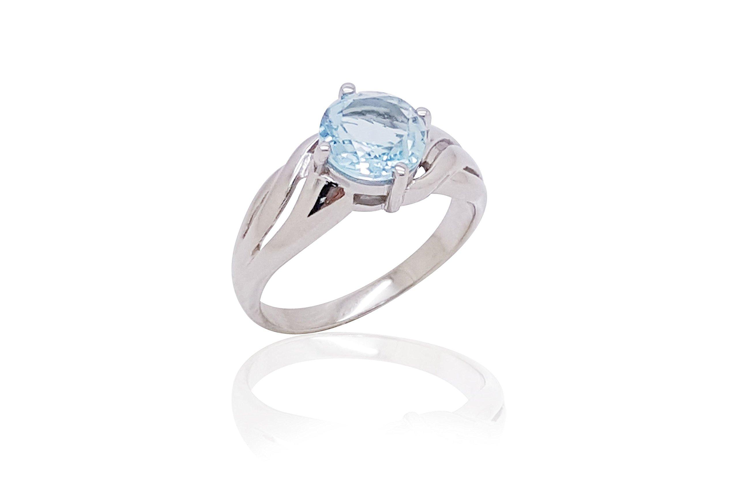 Sparkling Fine Blue Topaz 925 Sterling Silver Ring (10)