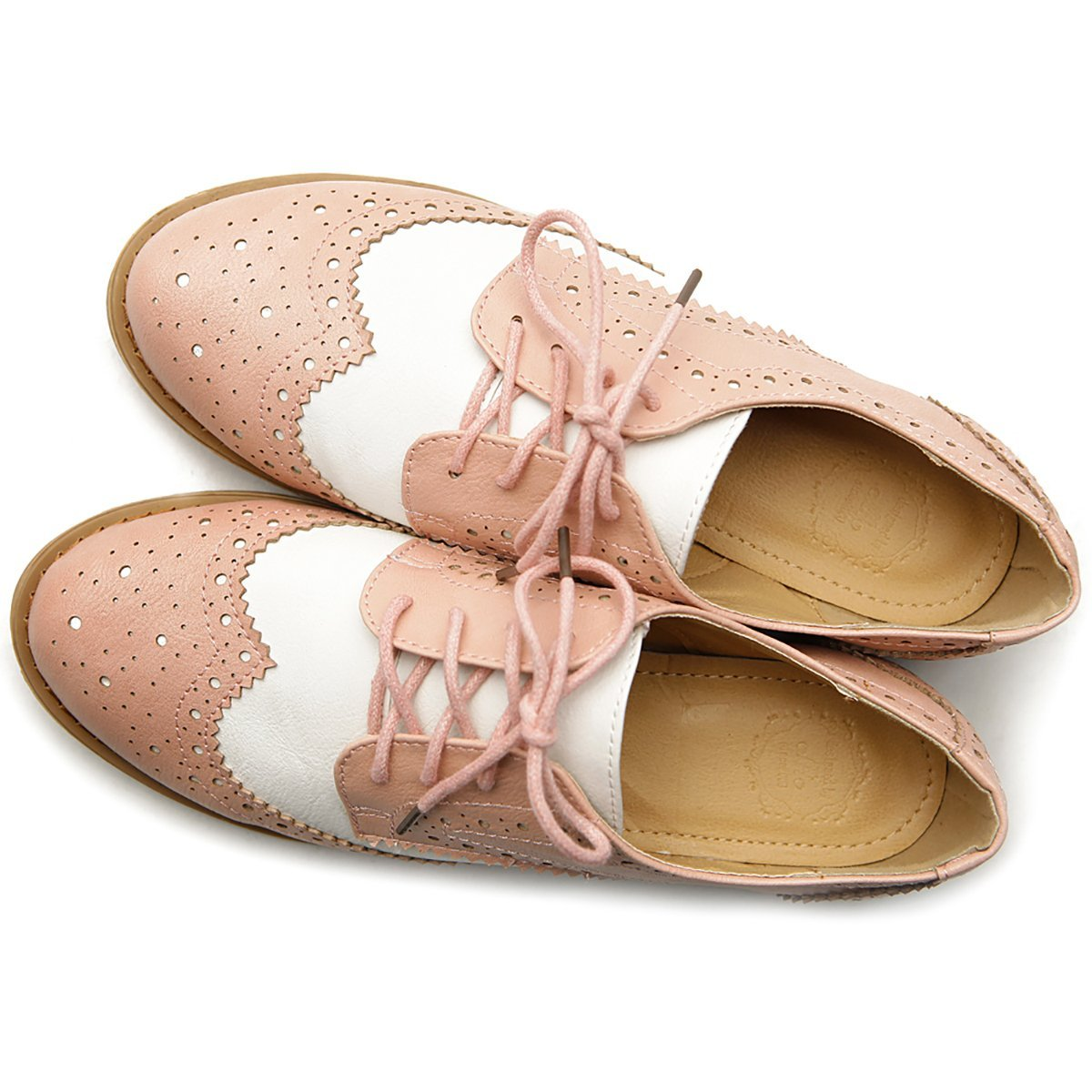 Vintage Style Shoes, Vintage Inspired Shoes Ollio Womens Flat Shoe Wingtip Lace up Two Tone Oxford $27.99 AT vintagedancer.com