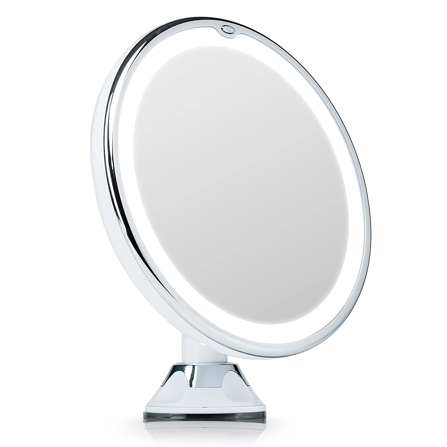 Fancii Lighted Vanity Makeup Mirror, 7X Magnifying with Natural LED Ring Lights, Locking Suction, Cordless Travel Cosmetic Mirror