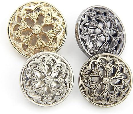 Lot de 5 petits boutons-fleur vintage Métal argenté 13 mm