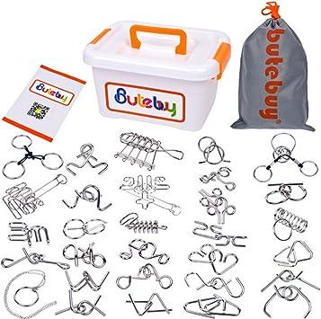 FOKOM Rompecabezas Metal 30Pack Puzzles 3D Juegos de Ingenio Juegos de Mesa Juego IQ Juguete Educativos Habilidad Juego Logica Calendario de Adviento para Niños y Adultos: Amazon.es: Juguetes y juegos