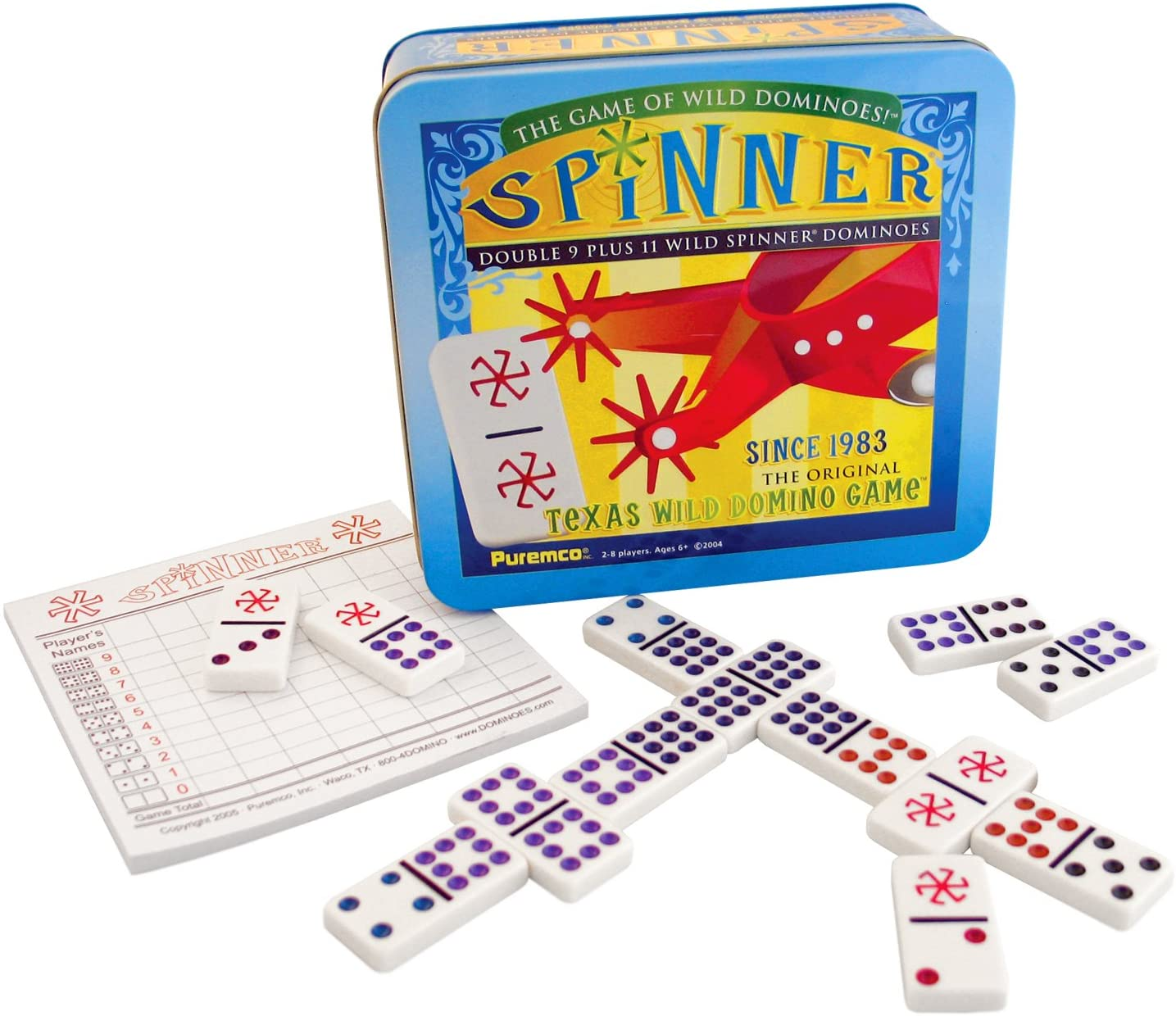 Spinner: The Game of Wild Dominoes, Double 9 Set Plus 11 Wild Spinner Tiles Board Game, Tin Box Carrying Case