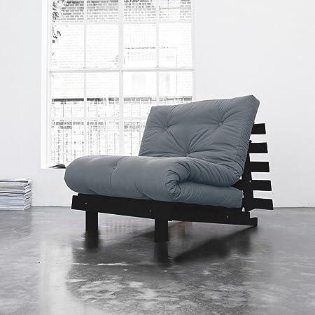 Pack Colchón futón gris claro algodón estructura de madera color wengué – tierra de noche, algodón, 90 x 200: Amazon.es: Hogar