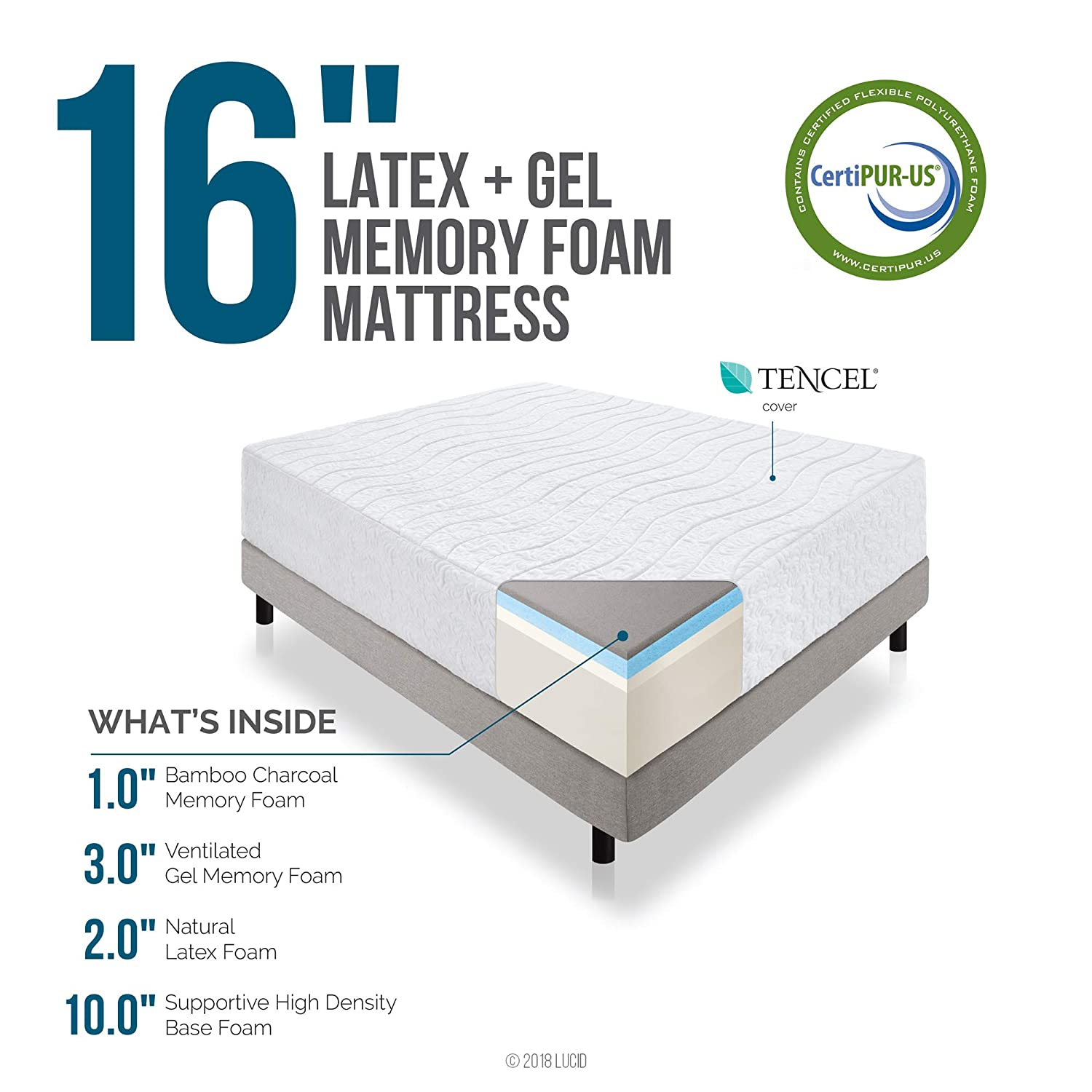 LUCID 16 Inch Plush Gel Memory Foam and Latex Four-Layer-Infused with on full mattress, rest mattress, air mattress, futon mattress, therapedic mattress, orthopedic mattress, posturepedic mattress, feather mattress, plush top mattress, inventor of the mattress, queen mattress, pillow top mattress, euro top mattress, king mattress, crib mattress, microfiber mattress, simmons mattress, sealy mattress,
