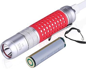 Amazon.com: CIVICTOR Linterna táctica recargable USB ...