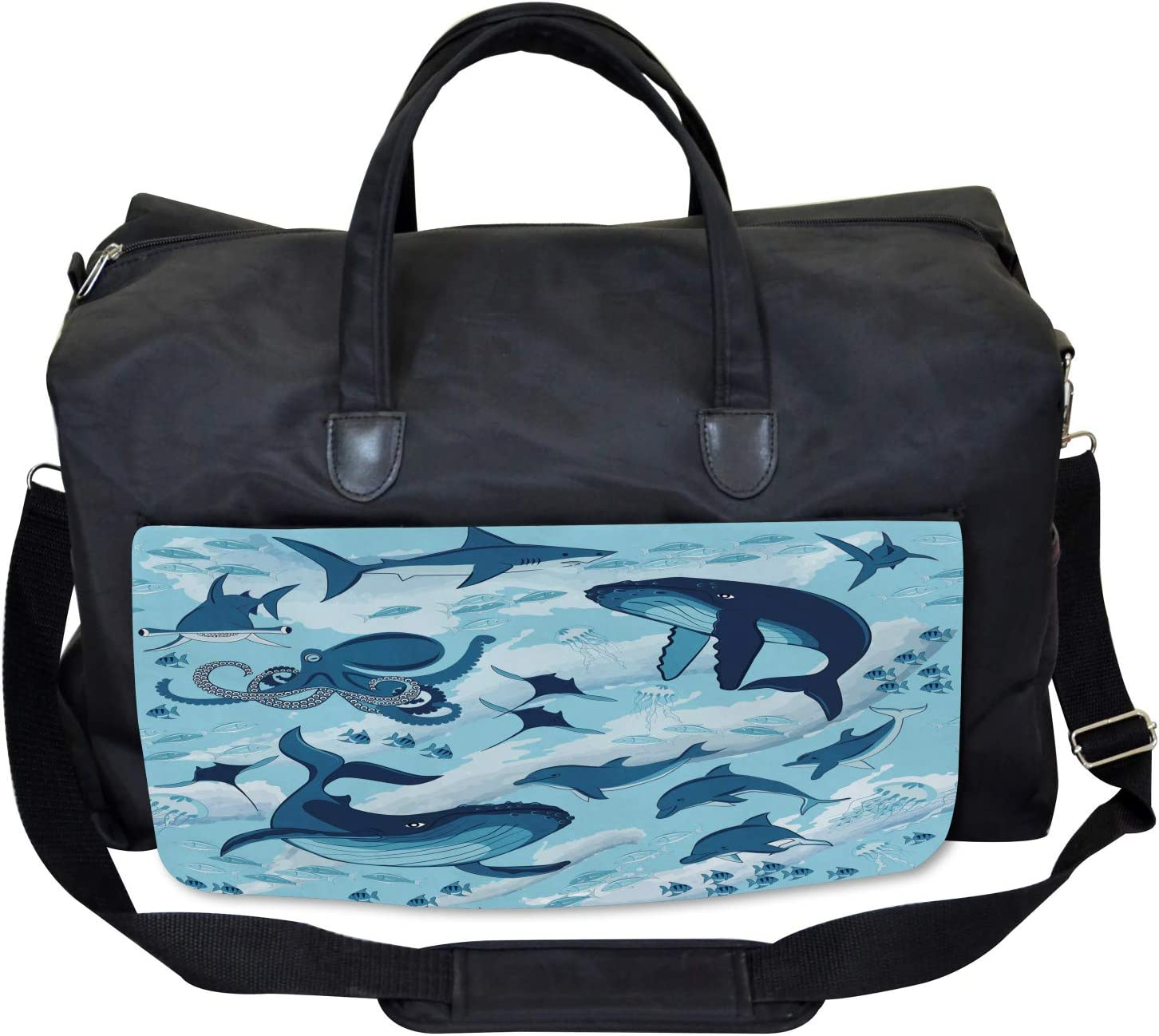 Dolphins Octopus Starfish Ambesonne Blue Gym Bag Large Weekender Carry-on