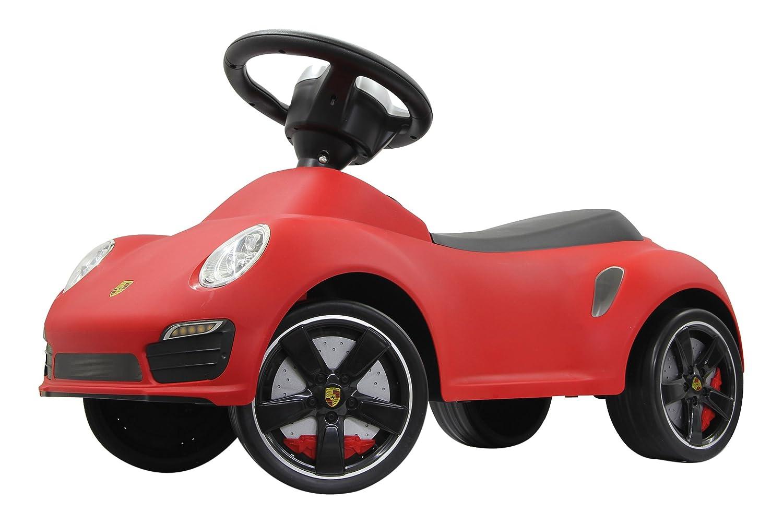 Jamara 460208 - Rutscher Porsche 911 rot – Kippschutz, Flüsterreifen, echte Scheinwerferattrappen, Hupe am griffigen Lenkrad, offiziell lizenziert mit originalgetreuer Optik, wertige Verarbeitung Flüsterreifen