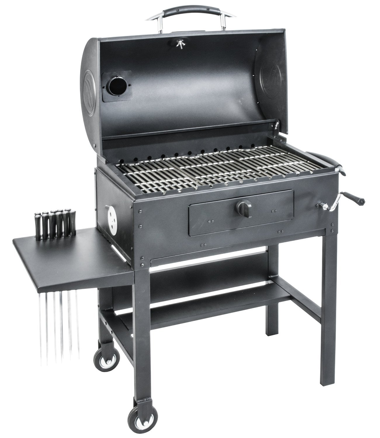 Blackstone 3-in-1 Kabob Charcoal Grill - Barbecue - Smoker - With Automatic Rotisserie - 11 custom heavy-duty skewers included by Blackstone