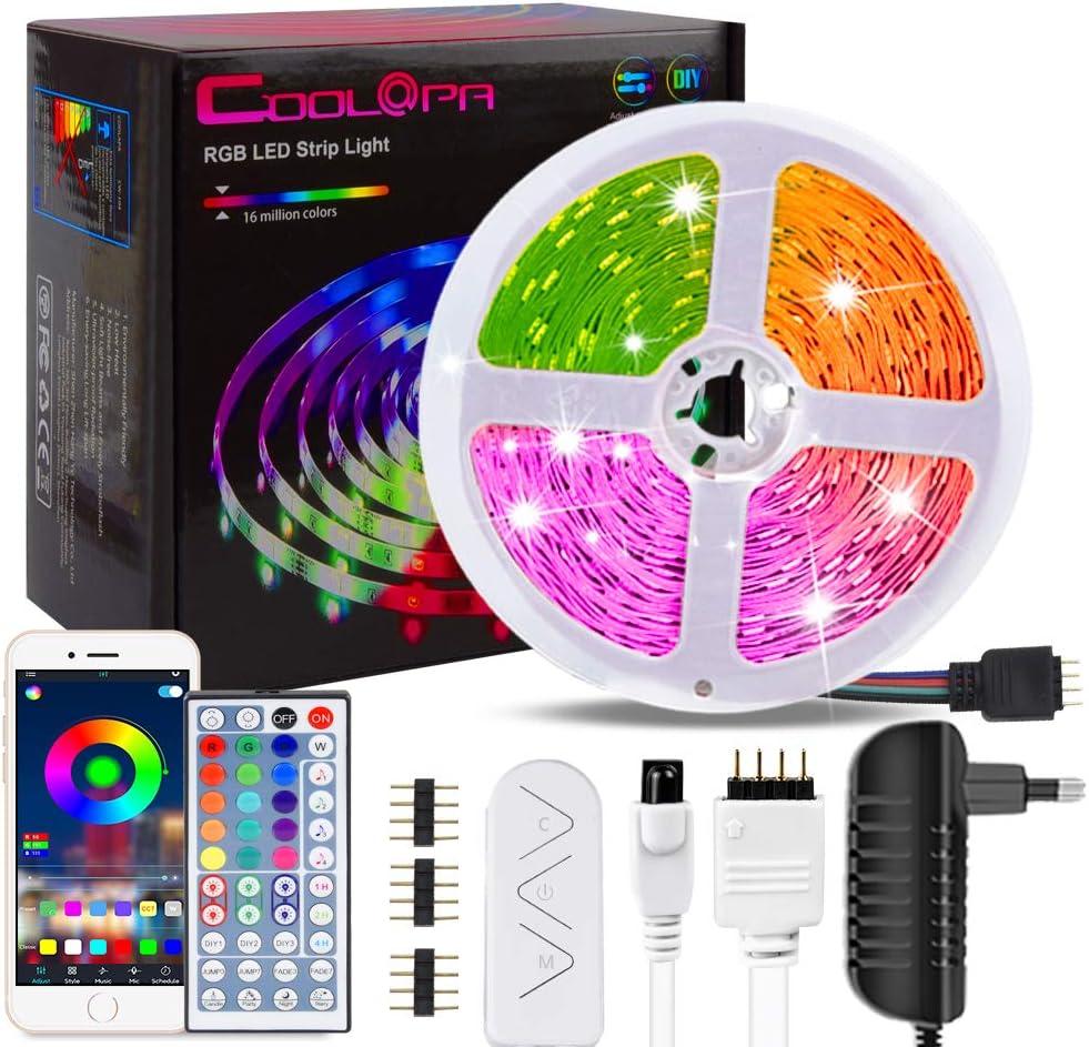 20M Tira LED, COOLAPA Tiras LED RGB 5050 12V con 180 LEDs, Iluminación de ambiente, Sync con Música, Control Remoto de 44 Teclas para Decoración de Casa, Jardín, Fiesta, etc.