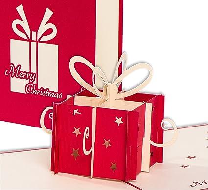 Carte de Noël 3D – Paquet cadeau avec nœud – avec enveloppe par