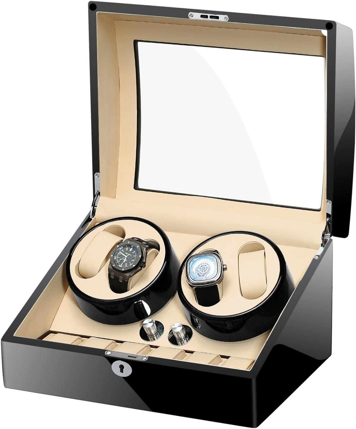 MIRANQAN Caja giratoria para Relojes automatico Watch Winder Madera de Almacenamiento 4 +6 Reloj de Pulsera-Aduana de Lujo (Color Raro), 01: Amazon.es: Hogar