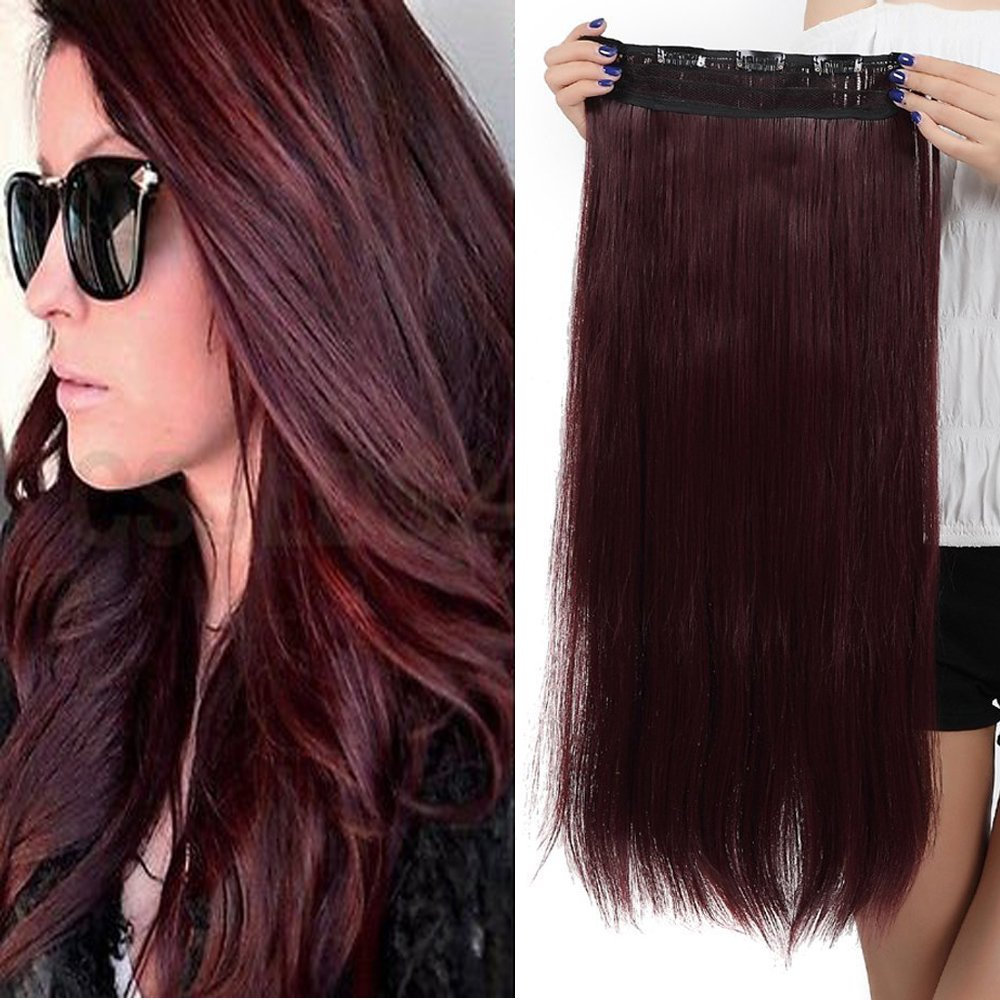 Lovely S Noilite 23 Straight Wine Red One Piece 5 Clips Clip In