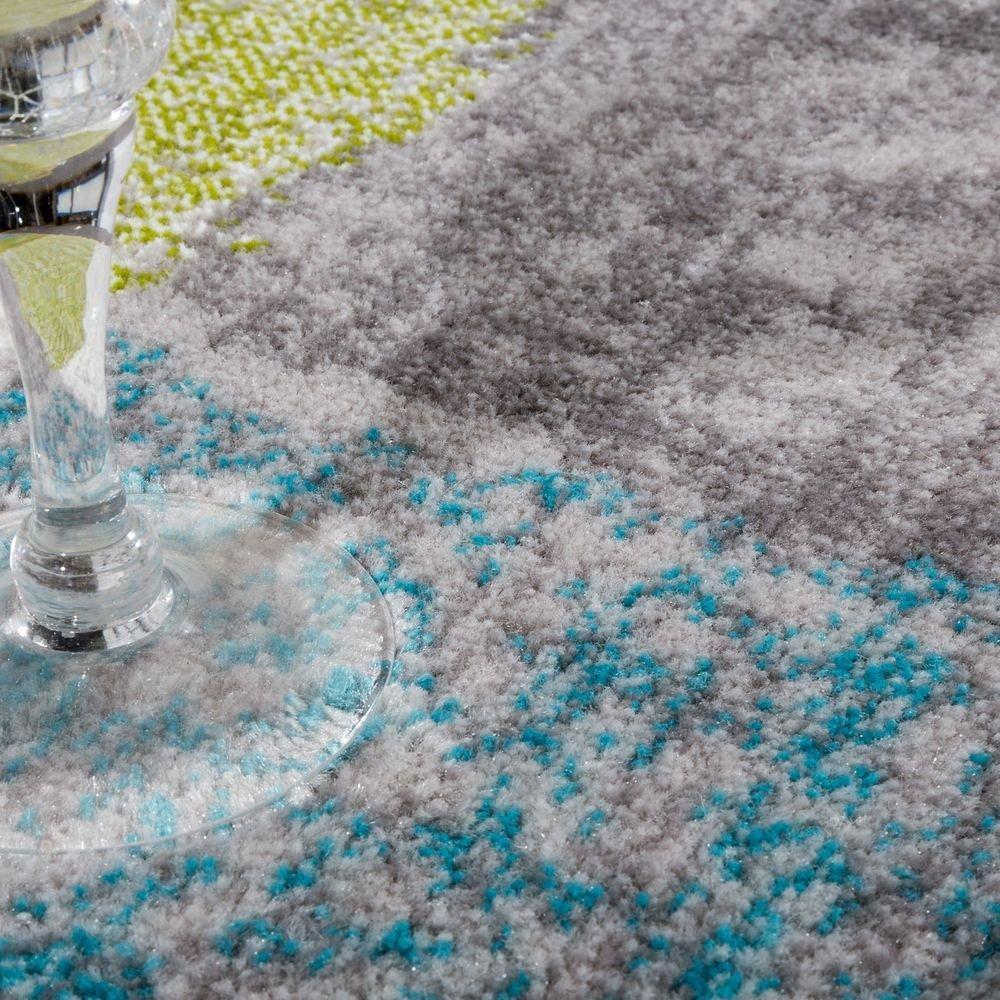 Paco Home Designer Teppich Wohnzimmer Ausgefallene Farbkombination Karo T/ürkis Gr/ün Grau Gr/össe:60x100 cm