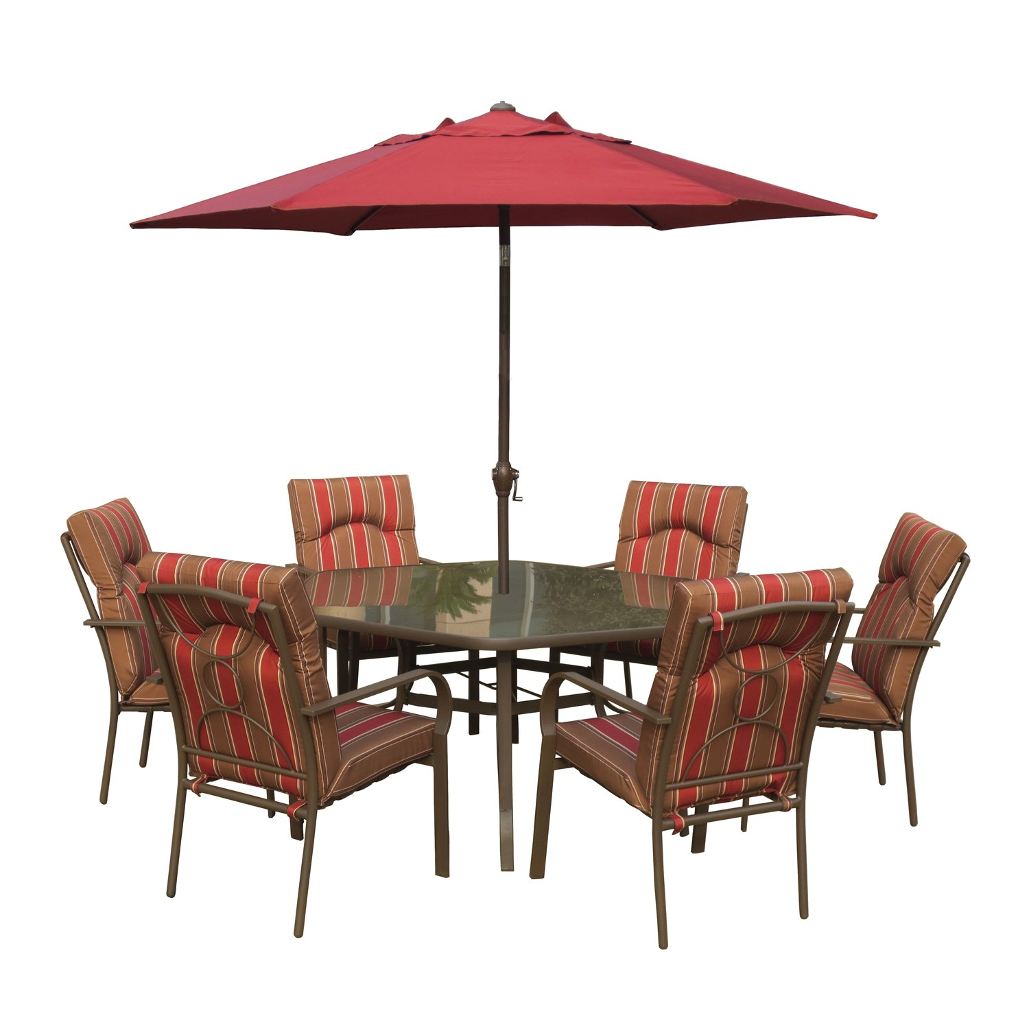 Amalfi Rectangular 6 Seater Dining Set With Parasol   Brown U0026 Red Metal  Garden Furniture Set   6 Seater Dining Set   Outdoor Patio Table And Chair  Set: ...