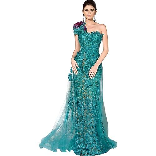 27114e88817 Newdeve Lace Applique Mermaid Turquoise Long Evening Dresses One-Shoulder