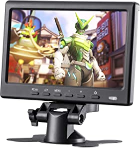 BASENSE 7 Inch Small Portable HDMI VGA HD LCD Computer Monitor Display 1024x600 for PC Laptop; Raspberry pi Display Screen Monitor ; Video HDMI Monitor for Car Rearview Cameras with Remote