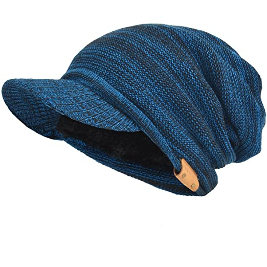 d7f09885f50 Mens Womens Thick Fleece Lined Knit Newsboy Cap Slouch Beanie Hat with  Visor (Blue)