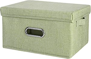 ANMINY Storage Box with Handles Removable Lids PP Plastic Board Foldable Lidded Cotton Linen Home Storage Cubes Bins Baskets Closet Clothes Toys Organizer Containers - Green, Large Size