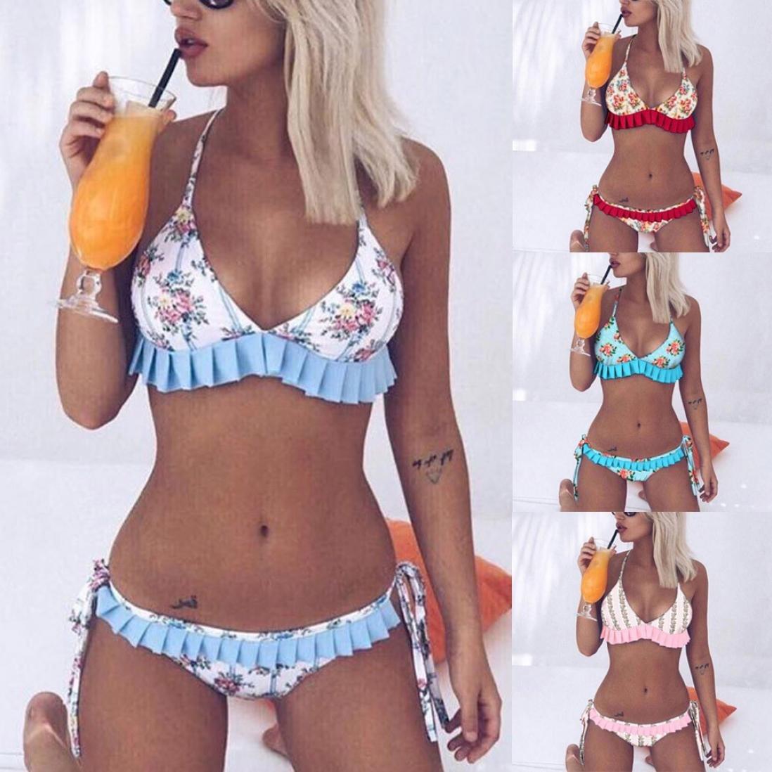 Longra❤Bikini con volantes florales coloridos, verano traje de baño acolchado push-up popular bañador ropa de playa vestidos mujer: Amazon.es: Alimentación ...