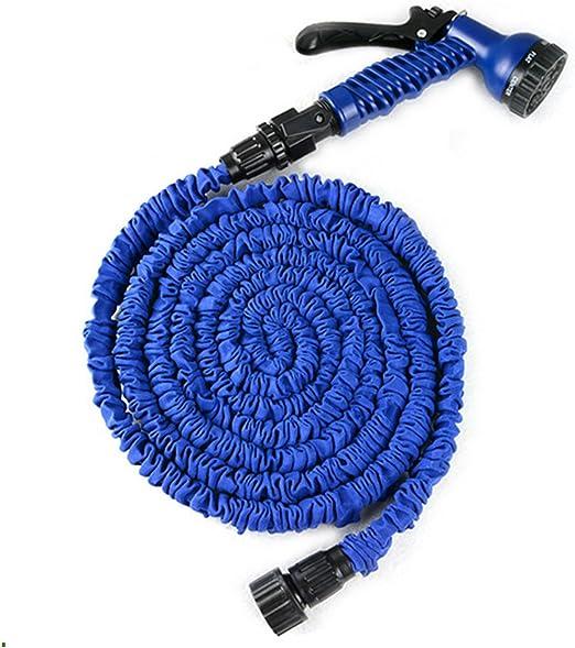 Millya 762 cm manguera extensible, Flexible mágico jardín manguera extensible pipa con 7 funciones de lavado camiseria y válvula de cierre-azul: Amazon.es: Hogar