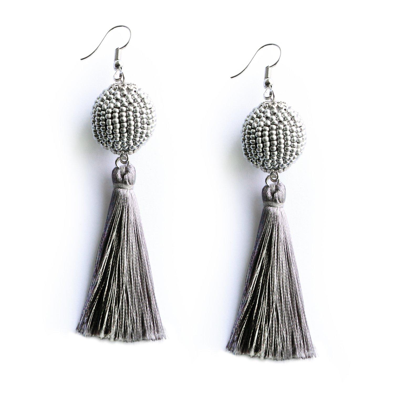 MHZ JEWELS Grey Beaded Ball Tassel Earrings Seed Beads Vintage Long Dangle Drop Tassel Earrings for Women Girls